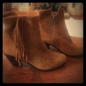 Sam Edelman suede fringe booties brown 6.5